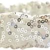 Hårsmycke till knut el tofs - Elastiskt vitt hårband m silverpaljetter