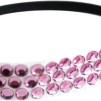 Hårsmycke till knut el tofs - Rosa stenar m svart resår S