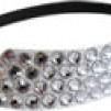 Hårsmycke till knut el tofs - Silverstenar m svart resår L