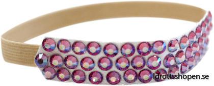 Pastorelli hårband beige m rosa stenar