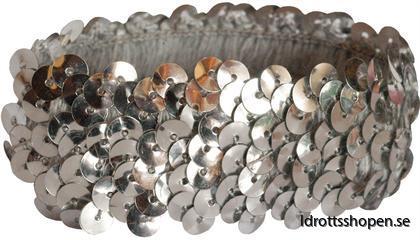 Pastorelli hårband silverpaljetter elast