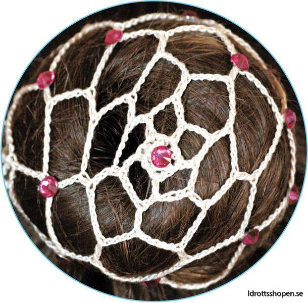 Beige hårnät med rosa stenar