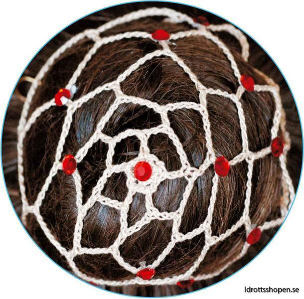 Beige hårnät med röda stenar