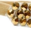Hårsmycke till knut el tofs - Guldstenar m beige resår S