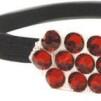 Hårsmycke till knut el tofs - Röda stenar m svart resår S