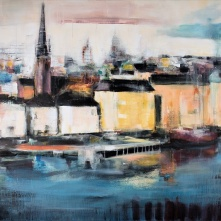 "©Karin Holmström ""Riddarholmen över söder"" Acrylic 150x100cm, available as Giclée Fine Art. Was shown on TV4 during 2016"