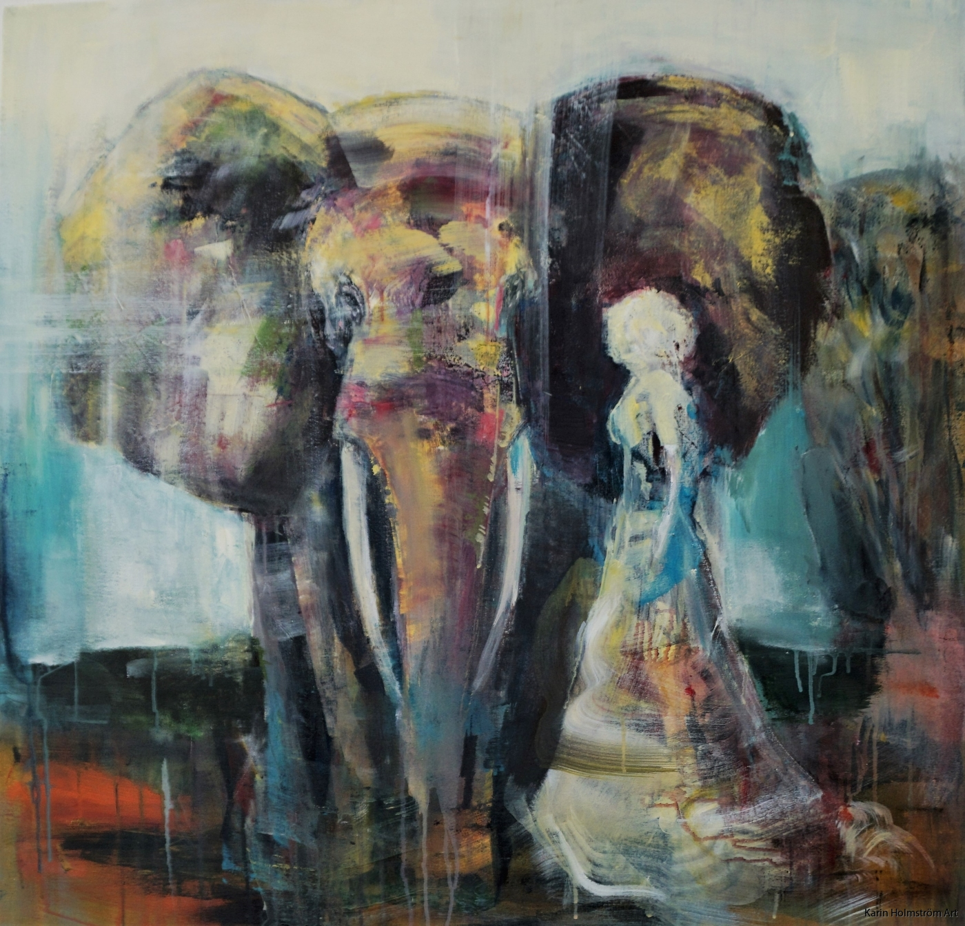 Walking with elephant bildyta ca 30x30 49ex