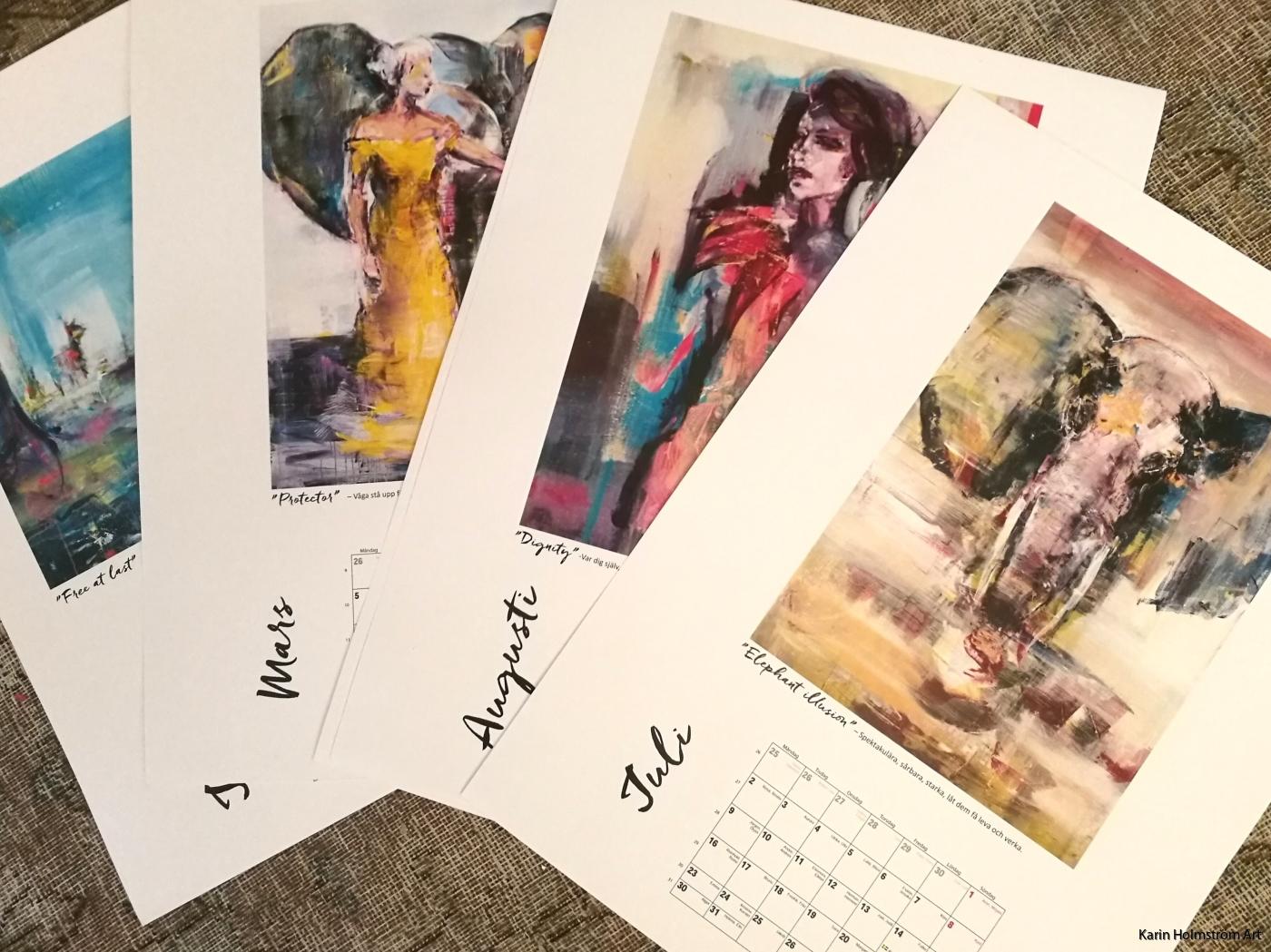 Kalender med citat och urval av målningar. 32x45cm