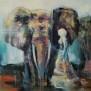 GICLÉE ELEPHANTS - Walking with elephant, blir ca 50x50cm inrmad med passpartout. Obs, ram ingår ej i priset