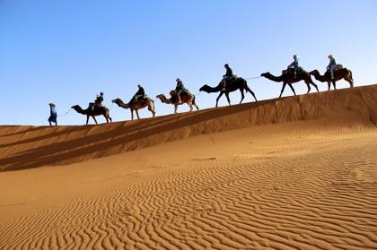 Marockoresans tur till Sahara inleds med dromedarritt till campen