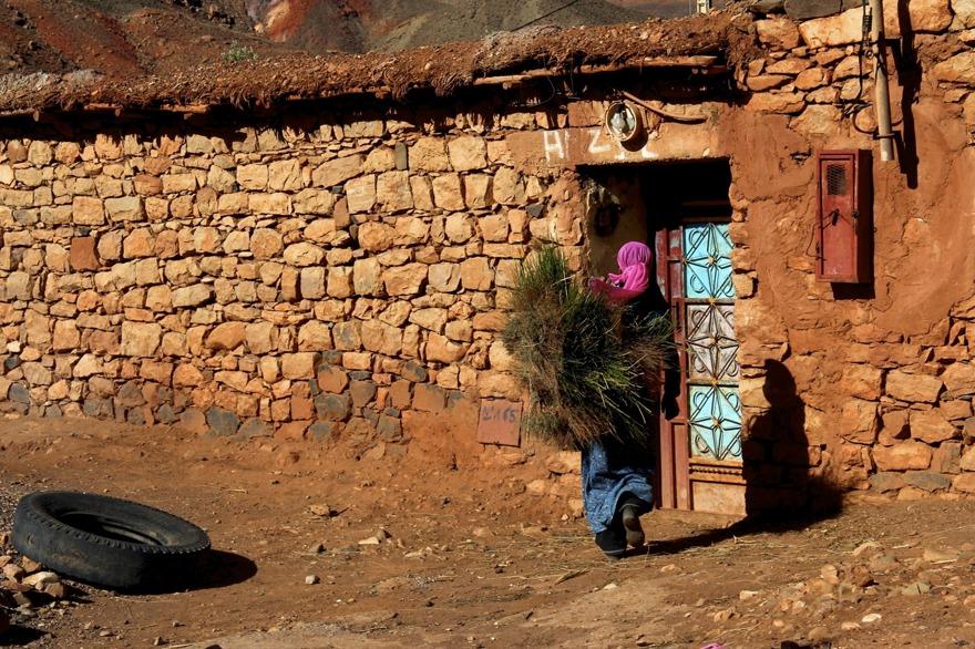 Med Marockoresan kan vi följa livet i en berberby i Atlasbergen. Kvinnorna sköter det mesta jordbruksarbetet, samlar och bär bränsle.