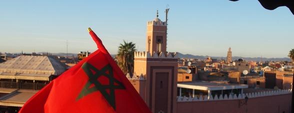 Marrakech från Cafe de France vid sagotorget Djemaa el Fna. Marockoresan.se fixar resan.