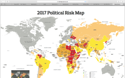 Aons karta över risken för politisk risk i världens länder.