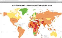 Aons karta över risken för terrorism och politiskt våld i världens länder.