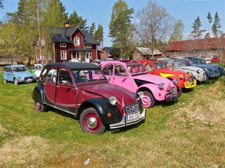 Veteranbilträff vid bilkyrkogården i Båstnäs.