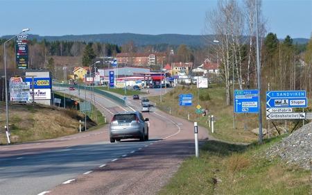 Töcksfors vid E18 nära norska gränsen.