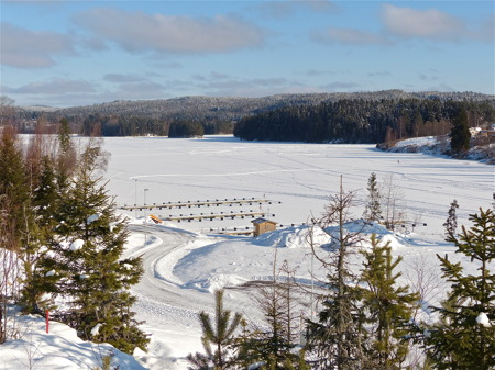 Utsikt över sjön Töck från bostadsområdet Prästnäset i Töcksfors.