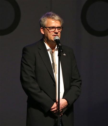 """Owe Lindström, Kulturchef i Årjängs kommun, inledde med en presentation av Musikalen """"Katarina av Amerika - hela resan""""."""