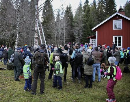 """Station 2 fanns vid Laskerud. Ett grönområde där Scouterna i Åmotfors ordnat grillplats, Skogen i skolan hade bl a arrangerat en balansbana, Friluftsfrämjandet hade en """"Mullestation"""" och Daglig verksamhet i Arvika stod för kaffe och hembakat fika."""
