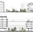 Illustrativa sektioner innergård och en takterass, vinnande förslag i markanvisningstävling, Västerport, Varberg, Hökerum Bygg