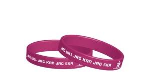 Pepp-armband - Mörk rosa & vit JAG VILL JAG KAN JAG SKA
