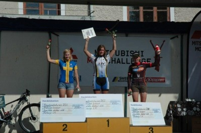 1:a Ann Berglund, IK Hakarpspojkarna. 2:a Emmy Thelberg, Härnösands CK. 3:a Angelica Edvardsson, Cykloteket Racing Team.
