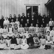 Häradsbäcks Folkskola omkring 1910. Lärarinna: Marta Linderholm