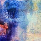 DETALJ ur Målning hästar