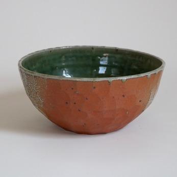 Skål, saltglaserad - Skål saltglaserad orange/grön