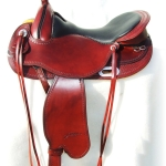 freeform west all round burgundy leather and blk calfskin seat
