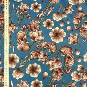 Blå magnolia vävt bomullstyg