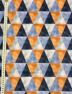Triangel Blå vävt bomullstyg - Triangel Blå