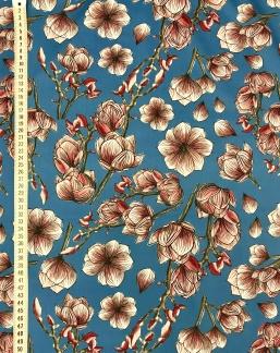 Blå magnolia vävt bomullstyg -