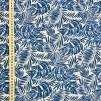 Blå blad vävt bomullstyg