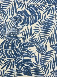Blå blad vävt bomullstyg -