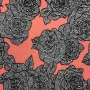 Svartvita blommor korall trikå
