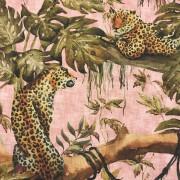 Rosa djungel leopard vävd bomull