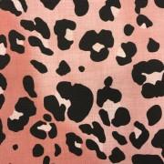 Rosa leopard vävd bomull