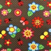Blommor och nyckelpiga bomullstrikå