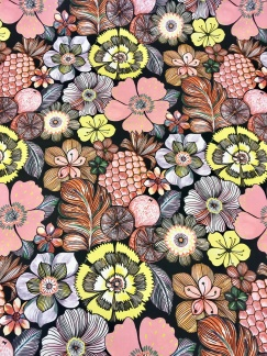 Frukt och blomma vävt bomullstyg -