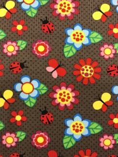 Blommor och nyckelpiga bomullstrikå -