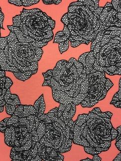 Svartvita blommor korall trikå -
