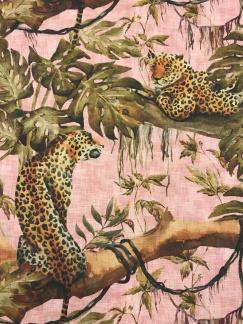 Rosa djungel leopard vävd bomull -