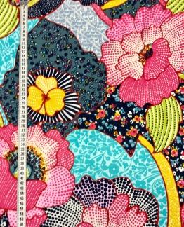 Fantasi stor blomma på vävt tyg -