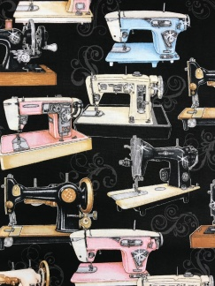 Gamla symaskiner vävt bomullstyg -