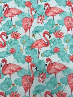 Flamingo turkos bomullstrikå -