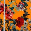 Blommig retro orange tyg med stretch