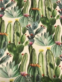 Kaktus akvarell vävt tyg -