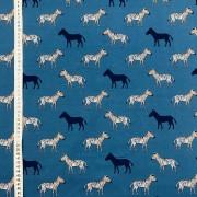 Blå zebra trikåtyg