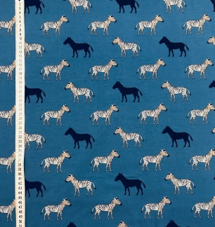 Blå zebra trikåtyg -
